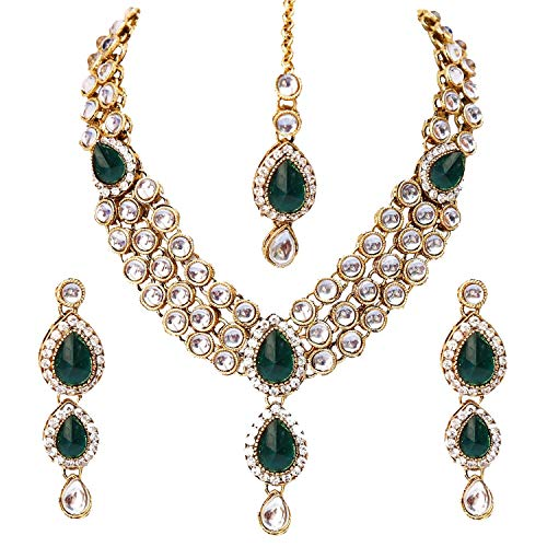 Aheli Wedding Wear Indian Kundan Maang Tikka Earrings Necklace Set Bollywood Traditional Jewelry