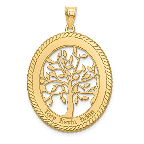 (Jewelry Pendants & Charms Personalized 10ky Laser Polished Family Tree Oval Pendant)
