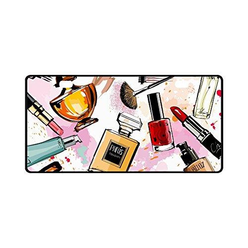 INTERESTPRINT Girly Watercolor Cosmetics Perfumes Lipstick Nail Polish Brush Metal License Plate for Car, Car Tags Cover for Woman Man - 11.8