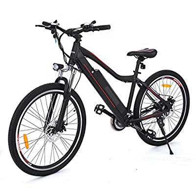 Electric Mountain Bike Approx 24-34 Miles Mileage with Large Capacity Removable Lithium Battery, Aluminum Alloy Frame and Shimano 21-speed Gear