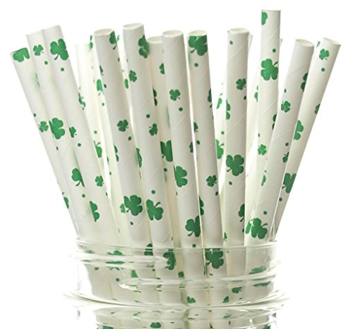 Shamrock Straws (25 Pack) - St Patrick's Day Party Supplies, 4 Leaf Clover Straws, Leprechaun Green St Patrick's Day Straws