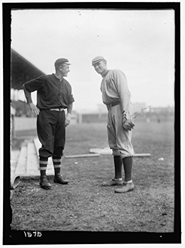 Old 8 x 12 Photo reprint of: Christy Matthewson and Walter Johnson, New York NL black and Washington AL baseball by Harris & Ewing, photographer c. 1912 (Harris Baseball)