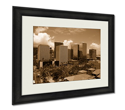 Ashley Framed Prints Downtown Honolulu, Wall Art Home Decoration, Sepia, 26x30 (frame size), AG6403345 by Ashley Framed Prints