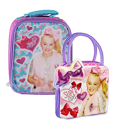 Mozlly Value Pack - Nickelodeon JoJo Siwa Soft Two Sided Insulated Lunch Bag - 6.75 x 4 x 8 inch and Soft Purse Lunch Box - Zipper Closure - Large Compartment - Back to School Supplies (2 Items)
