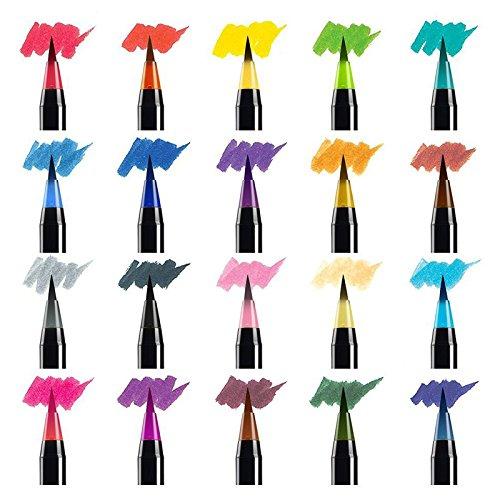 DOTKV Watercolor Brush Markers Pen Non Toxic Set of 20 Paint Pens Bright Neon Colored Soft Flexible Tip Plus 1 Auto Water Pen