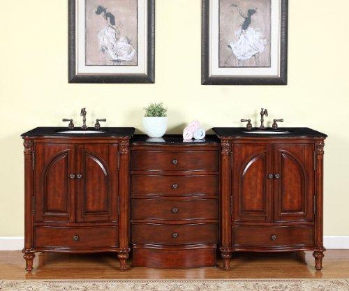 Silkroad Exclusive FS-0266-BG-UWC-83 Countertop Black Granite Double Sink Bathroom Vanity with Cabinet, 83″, Medium Wood
