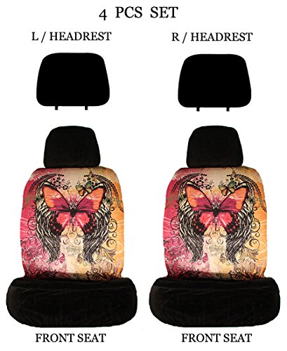 (ALLBrand Universal Fit Front 4-Piece Full Set Sublimation Print Custom Design Low Back Front Bucket Seat Covers with Separate Headrest Covers (Red Butterfly/Beige))
