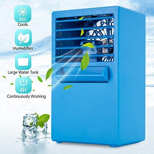Lambow Mini Portable Air Conditioner Fan, Personal Space Air Cooler Small Desktop Fan Compact Super Quiet Desktop Cooling Fan Mini Evaporative Air Circulator Cooler Humidifier