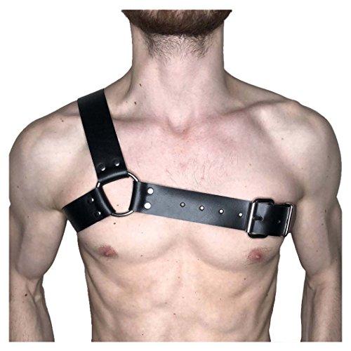 ZAKIA Mens Adjustable Punk Leather Body Chest Half Harness Belt Nightclub Costumes Cosplay (Style Two) Black