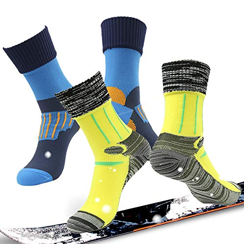 100% Waterproof Breathable Socks, RANDY SUN Men's 2 Pairs Running Midcalf Socks For Hunting Athletic Blue&Yellow S (Sock All Season Mid Calf)