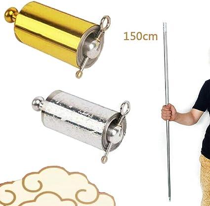 AMOYER Il Personale Portatile Arti Marziali magia Metallo Pocket Bo Staff Pocket Sport Esterno di Acciaio Inossidabile dArgento