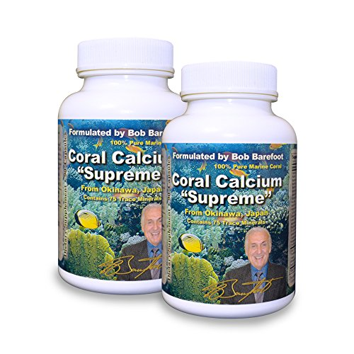 Bob Barefoot Coral Calcium Supreme 1000mg - 2 Bottles - 90 Caplets Each - New Improved Formula - Made From Pure Marine Grade Okinawa Coral Calcium - With Essential Vitamins + 75 Trace Minerals (Barefoot Coral)