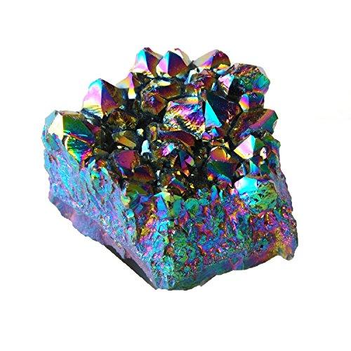 Titanium Coated Crystal Cluster Specimen, By JIC Gem (Rainbow, 2-2.5
