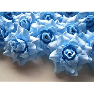 "(24) Silk Sky Blue Roses Flower Head - 1.75"" - Artificial Flowers Heads Fabric Floral Supplies Wholesale Lot for Wedding Flowers Accessories Make Bridal Hair Clips Headbands Dress 26"