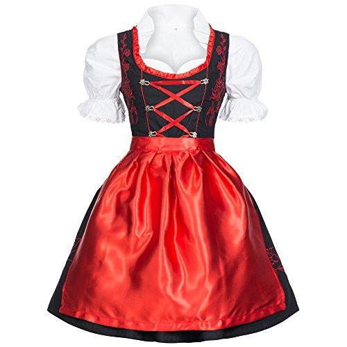 Gaudi-Leathers Dirndl Set 3 Teilig mit Miederhaken, Trachtenkleid, Dirndl Bluse, passender Schürze, Schwarz (Rot Miederhaken 050), 38