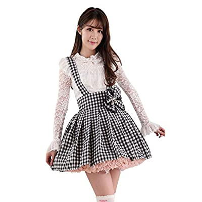 Hugme Black and White Plaid Polyester Lace Lolita Suspender Skirt