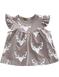 Infant Baby Girl Gray Deer Head Pattern Ruffled Sleeve Romper Short Dress