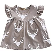 Infant Baby Girl Gray Deer Head Pattern Ruffled Sleeve Mosaic Romper Short Shirt (0-3 M, Gray)