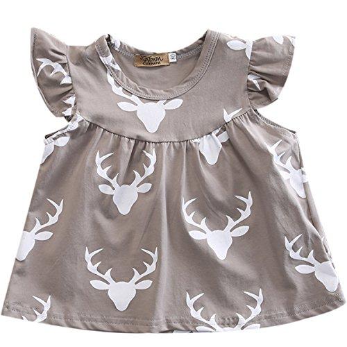 Infant Baby Girl Gray Deer Head Pattern Ruffled Sleeve Mosaic Romper Short Shirt (3-6 M, Gray)