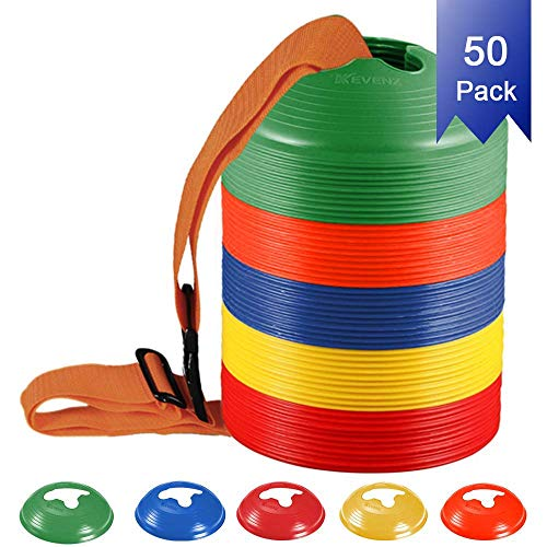 Kevenz Soccer disc Cones,More Thicker, More flexible,Multi Color Cone for Agility Training, Soccer, Football, Kids, Field Marker(50-Pack,Red,Blue,Orange,Yellow,Green) ()