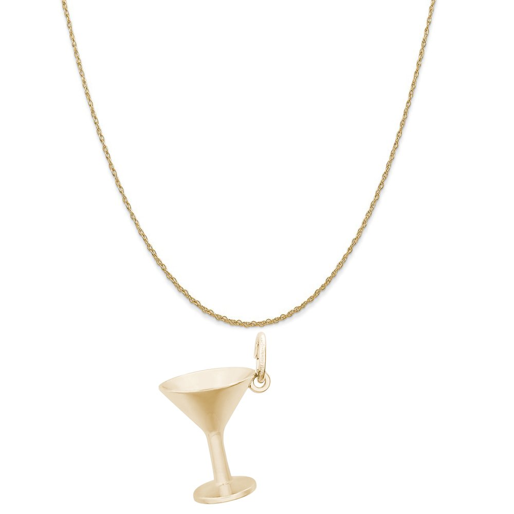Rembrandt Charms 14K Yellow Gold Martini Glass Charm on a 14K Yellow Gold Rope Chain Necklace, 20'' by Rembrandt Charms