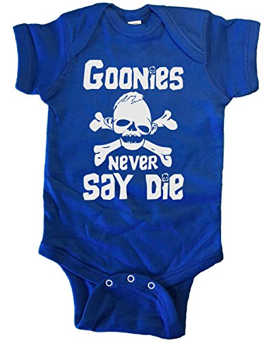 BRAIN JUICE TEES GOONIES NEVER SAY DIE BABY ONE PIECE (6 Months, Blue)