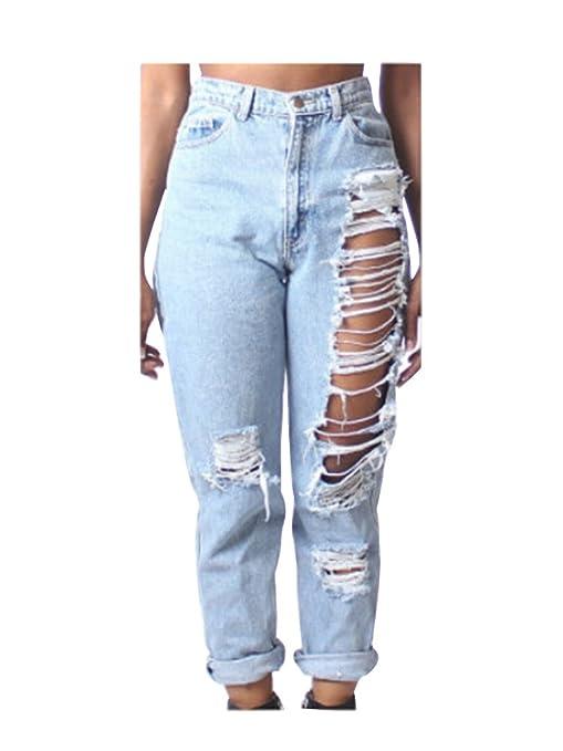 eacde44828 Donna jeans strappati Baggy Larga Denim Jeans A Vita Alta Pantaloni ...