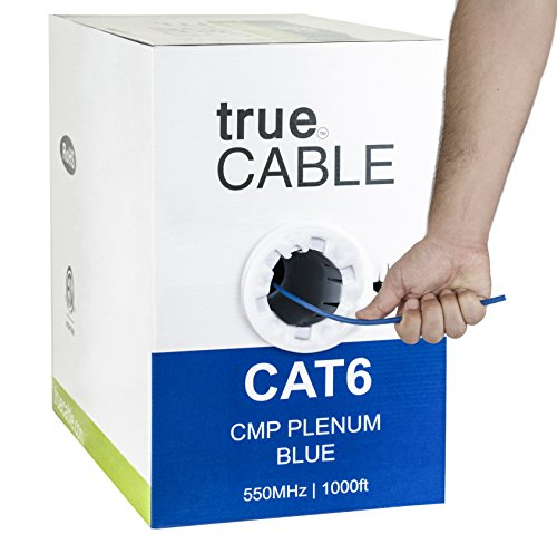 Cat6 Plenum (CMP), 1000ft, Blue, Solid Bare Copper Bulk Ethernet Cable, 550MHz, ETL Listed, 23AWG 4 Pair, Unshielded Twisted Pair (UTP), (Cmp Plenum Cables)