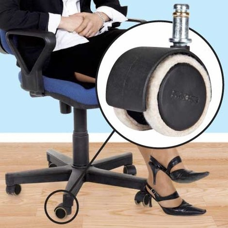 Office Chair Floor Protectors - Felt Casters Pkg - Chair Roller Protector
