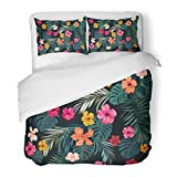SanChic Duvet Cover Set Pink Tropic Tropical Pattern with Bright Hibiscus Flowers and Exotic Palm Leaves on Dark Green Leaf Decorative Bedding Set with 2 Pillow Shams Full/Queen Size