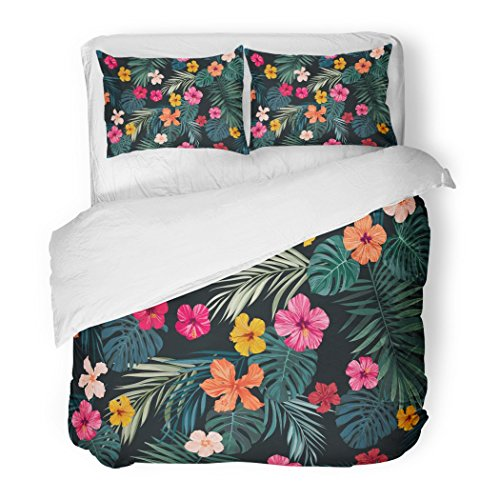 SanChic Duvet Cover Set Pink Tropic Tropical Pattern with Bright Hibiscus Flowers and Exotic Palm Leaves on Dark Green Leaf Decorative Bedding Set with 2 Pillow Shams Full/Queen Size by SanChic