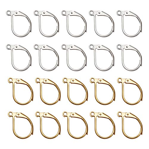 TOAOB 200pcs French Earring Hook Lever Back Earwires Silver and Golden Jewelry ()