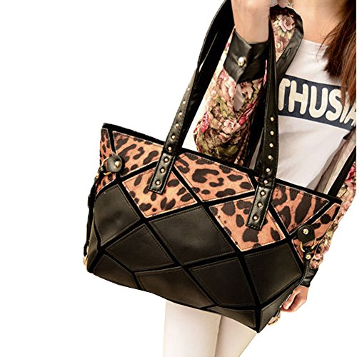 Top Seek Womens Water Cube Leather Shoulder Handbags Casual Totes Bags Hobos Leopard Satchels