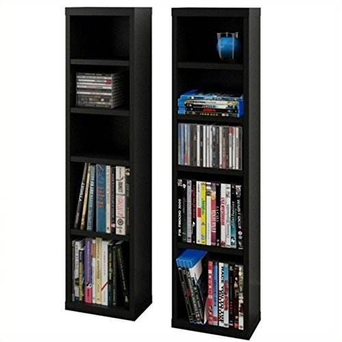 Sereni-T CD/DVD Towers (2) 211006 from Nexera, Black by Nexera