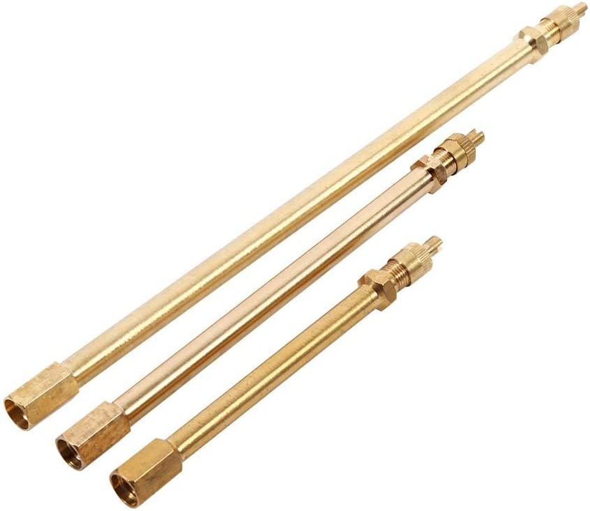 200mm Mower and Scooter Air Tyre Stem Extender Inflation Stright Bore for Motorcycle Bike 140mm Brass Auto Tire Valve Extension Adaptor Keenso