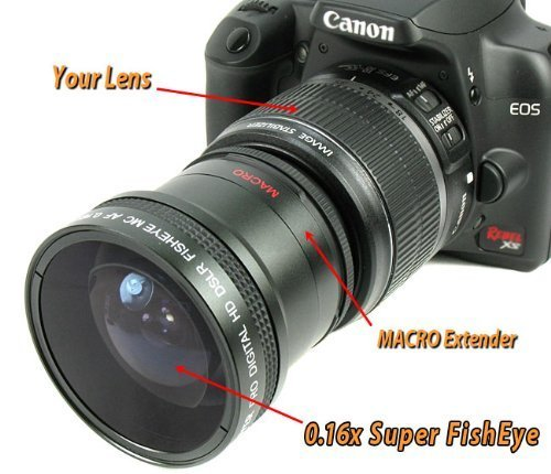 Bower 0 16x Super FishEye Lens with Macro for Canon EOS 18-55mmの商品画像