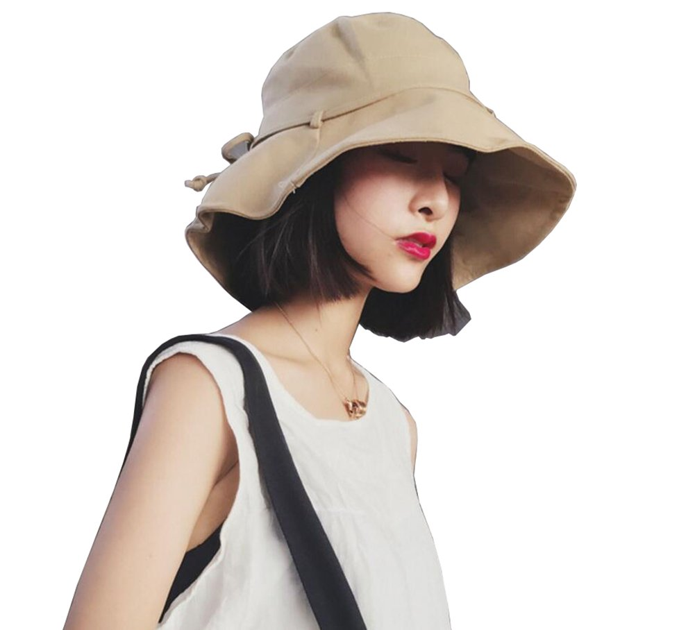 3c453392b9c Wide Brim Bucket Sun Hat Windy Cap Fashion Leisure Hats for Beach Summer  Autumn Outdoor Vacation Women Girls Lady  Amazon.ca  Sports   Outdoors