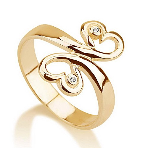 Heart Ring Promise Ring Gold Plated Couple's Ring Available Sizes 5,5.5,6,6.5,7,7.5,8,8.5,9