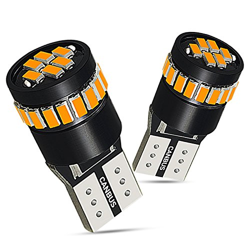 AUXITO 194 LED Light Bulb,Super Bright Amber Yellow 168 2825 W5W T10 Wedge 24-SMD 3014 Chipsets LED Replacement Bulbs for Car Dome Map License Plate Lights (Pack of 2) ()