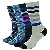 Enerwear 4 Pack Women's Merino Wool Outdoor Hiking Trail Crew Sock (US Shoe Size 4-10½, Blue/Khaki/Stripe)