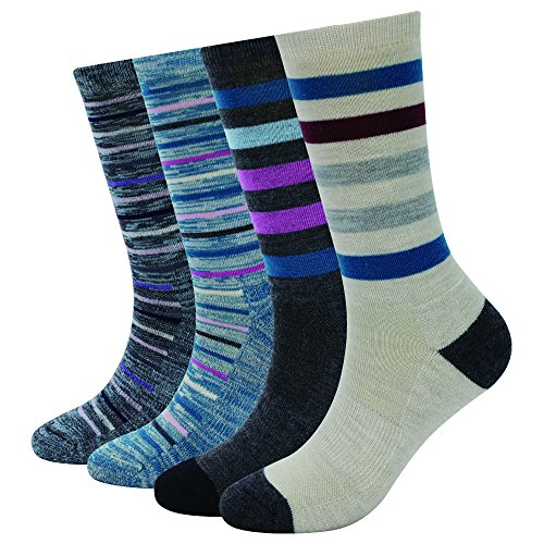 Enerwear 4 Pack Women's Merino Wool Outdoor Hiking Trail Crew Sock (US Shoe Size 4-10½, Blue/Khaki/Stripe)