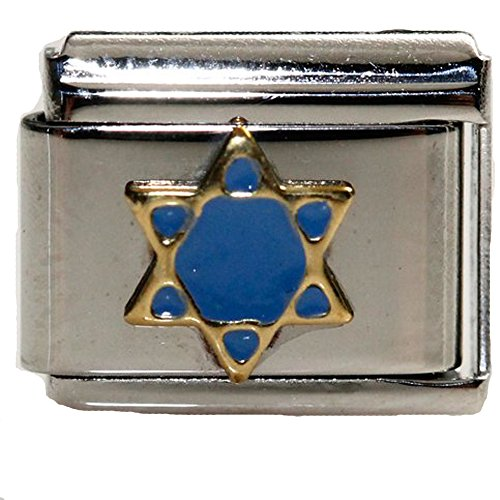 Blue Enamel Star of David Italian Link Bracelet Charm