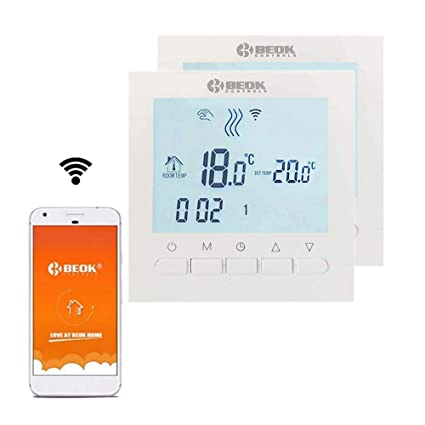 Beok BOT-313 2PCS WiFi Programable Cableado Digital Calderas De Gas Termostato Se Puede Controlar Por APP Controlador , Pantalla LCD AC220V 3A,Blanco