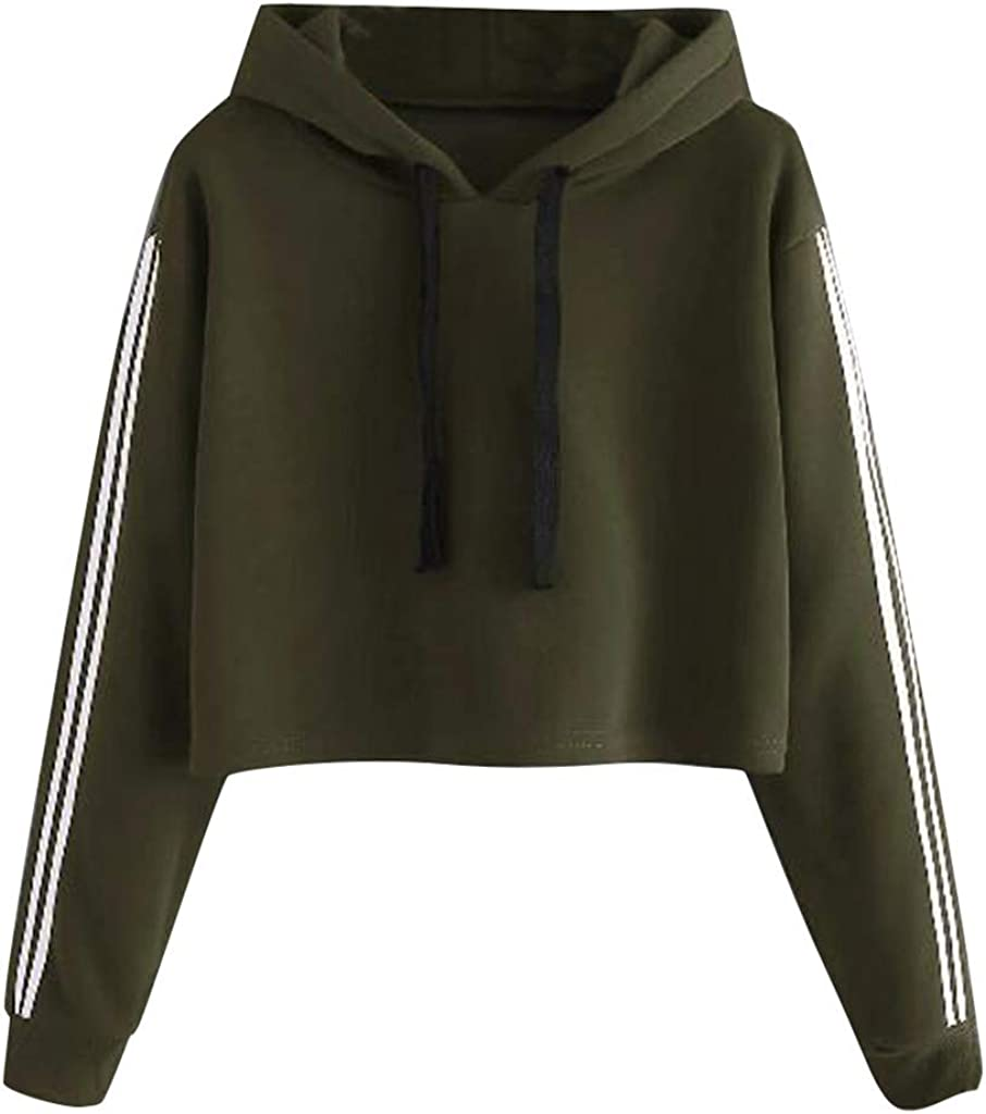 AKIMPE Womens Sweatshirt Utility Pullover Lightweight Breathable Stripe Hooded Oversized Drawstring Jacket for Winter