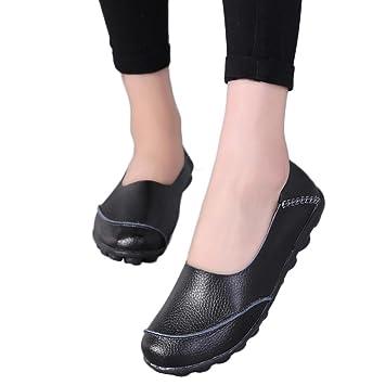 Amazon.com: gyoume Mujer plana zapatos de barco LADY oficina ...