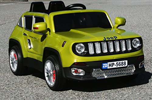 Price comparison product image Jeep Renegade Green HP-5688 12V Ride-on Car for Kids with Remote Control. For 2-5 years old kids Ride on Power Wheels Led lights MP3 2 motors Limited Edition Electric Car Opening Doors Ride On Toy.