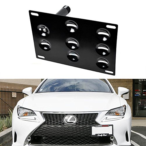 iJDMTOY JDM Style Front Bumper Tow Hole Adapter License Plate Mounting Bracket For Lexus ISF RC200t RC250 RC300 RC350 RC-F GS350 GS460 GS450h, RX LS, etc