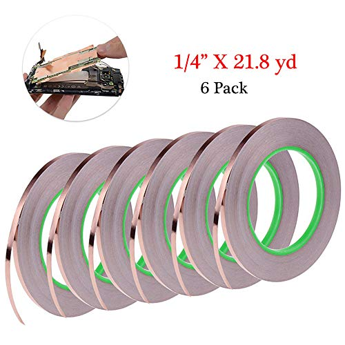 6 Pack Copper Foil Tape, Cooyeah Double-Sided Conductive Adhesive Tape for EMI Shielding, Craft, Arts, Paper Circuits, Electrical Repairs, Grounding (1/4