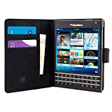 BlackBerry Passport Case, Snugg™ - Leather Wallet Case with Lifetime Guarantee (Black) for BlackBerry Passport