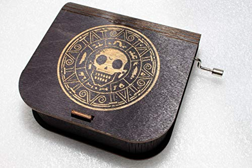 Pirate Coin Music Box #2 - Pirates Of The Caribbean Davy Jones Locket Jack Sparrow - Engraved Wooden Box - Hand Crank Movement